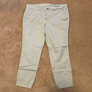Old Navy Grey Pants with Pink Lobsters Chino Pixie
